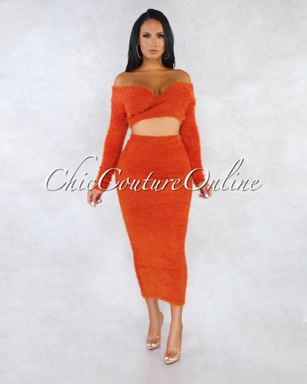 Carmella Orange Wrap Crop Sweater Midi Skirt Faux Fur Set