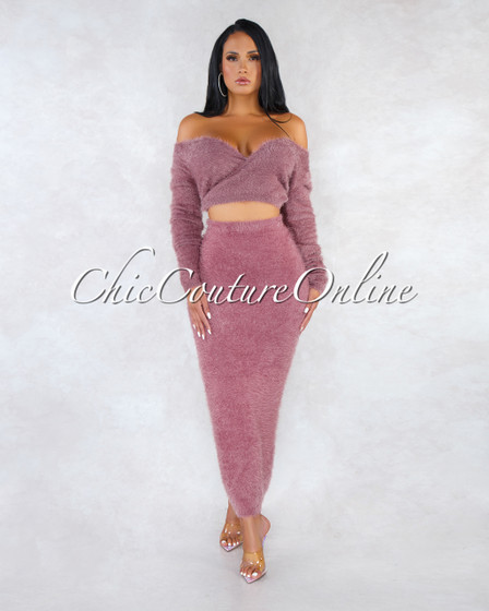 Carmella Mauve Wrap Crop Sweater Midi Skirt Faux Fur Set