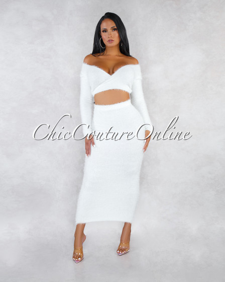Carmella Off-White Wrap Crop Sweater Midi Skirt Faux Fur Set