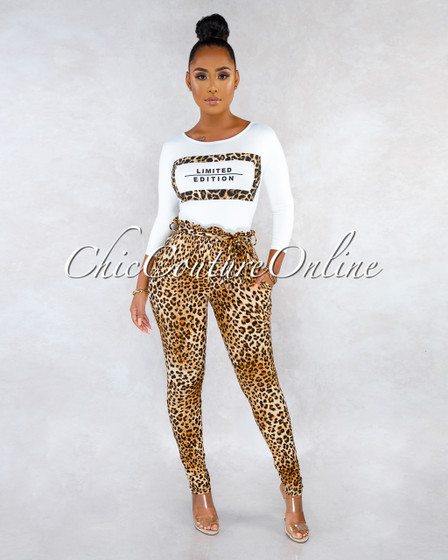 Limited Off-White T-Shirt Leopard Print Pants CURVACEOUS Set