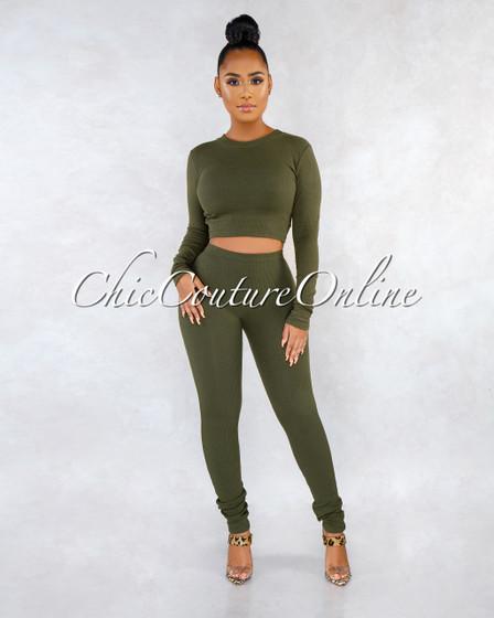 Aisbel Olive Green Ribbed Crop Top Leggings Set