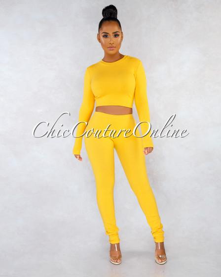 Aisbel Mustard Yellow Ribbed Crop Top Leggings Set
