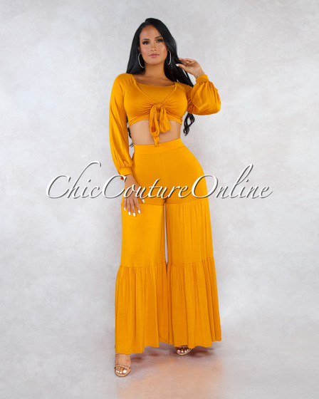 Larissa Mustard Yellow Bell Legs Two Piece Set