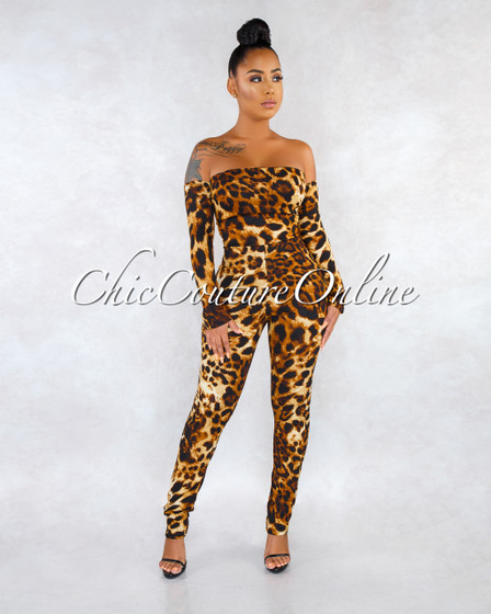 Dayna Leopard Print Open Lace-Up Back Jumpsuit