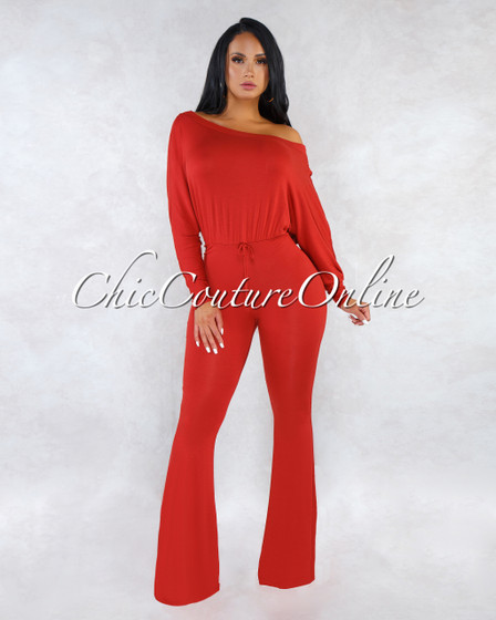 Tarra Tomato Long Sleeves Jumpsuit
