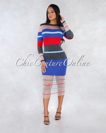 Kaia Blue Red Stripes Shimmer Sheer Details Ribbed Dress