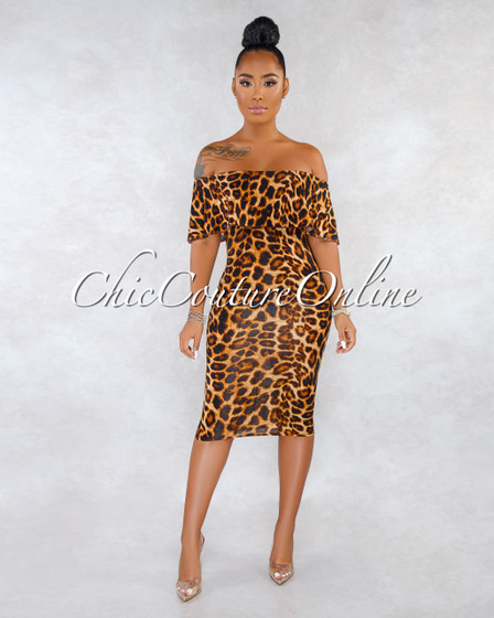 Camar Leopard Print Off-The Shoulder Midi Dress