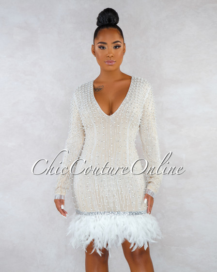 Borka Nude White Shimmer Pearls Accent Feather Hem Dress