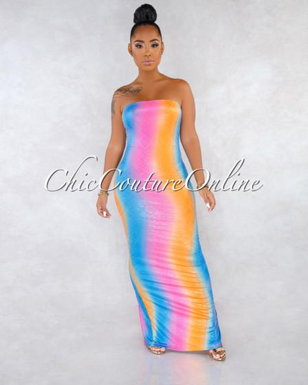 Tobago Rainbow Ombré Stripes Faux Snake Skin Slip On Dress