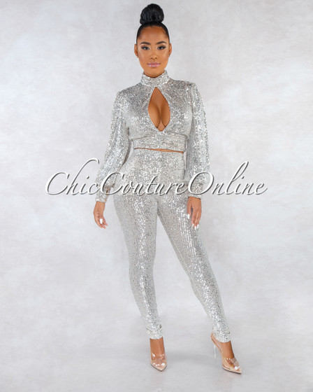 Jules Nude Silver Sequins Cut-Out Top Two Piece Set