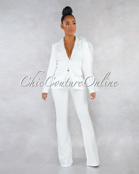 Julissa Off-White Feather Accent Trench Two Piece Set