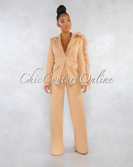 Julissa Tawny Brown Feather Accent Trench Two Piece Set