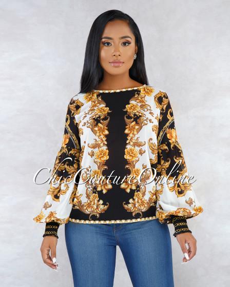 Scarlette Black Gold Print Long Sleeves Sheer Blouse