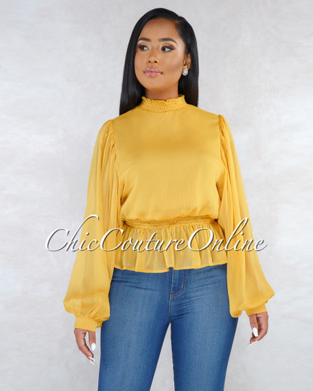 Sarita Mustard Yellow Ruffle Long Sleeves Shift Blouse