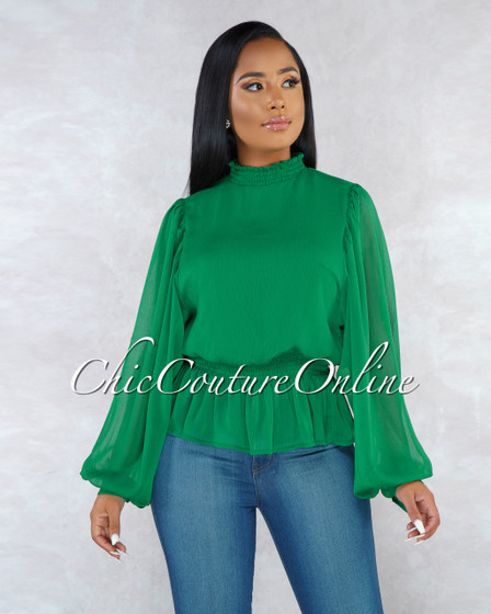Sarita Emerald Green Ruffle Long Sleeves Shift Blouse