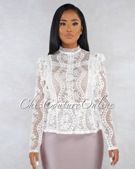 Natala Off-White Lace Crochet Ruffle See-Through Top