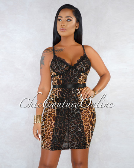 Sari Leopard Black Lace Sheer Mini Dress