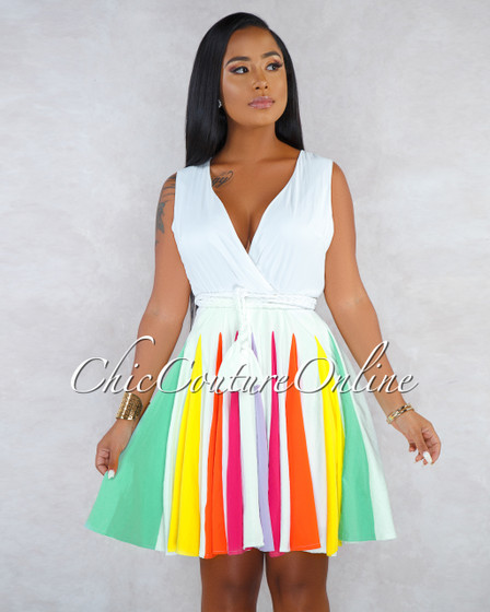 Serra Off-White Multi-Color Pleated Bottom Skater Dress