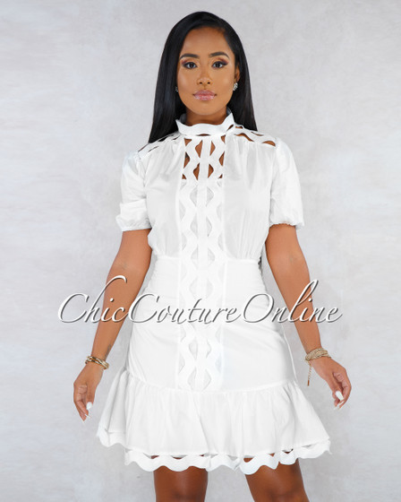 Olivia Off-White Eyelet Scallop Details Buttoned Ruffle Dress