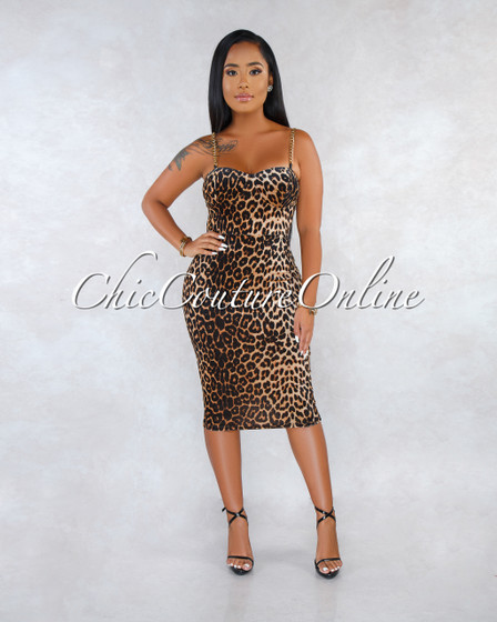 Quina Leopard print Velvet Gold Chain Straps Midi Dress