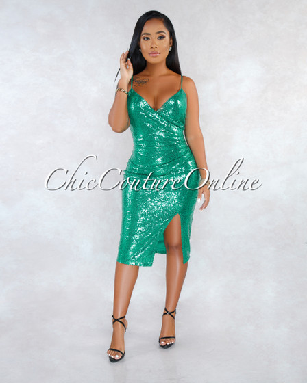 Rany Jade Sequins Faux Wrap Draped Midi Dress