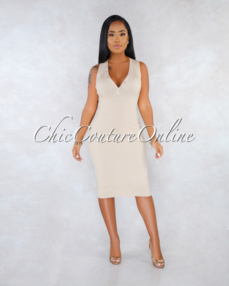 Rozalia Nude Ribbed V-Neck Gold Snap Midi Dress