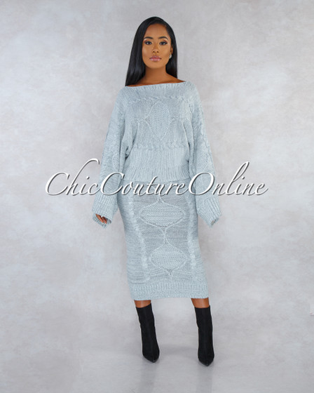 Nelly Grey Cable Knit Over-sized Sweater Skirt Set