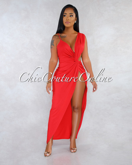 Oxxy Red Front Knot Side Slit Maxi Dress