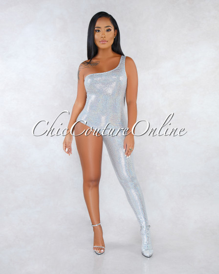 Pascale Gray Silver Sequins Single Leg Jumpsuit