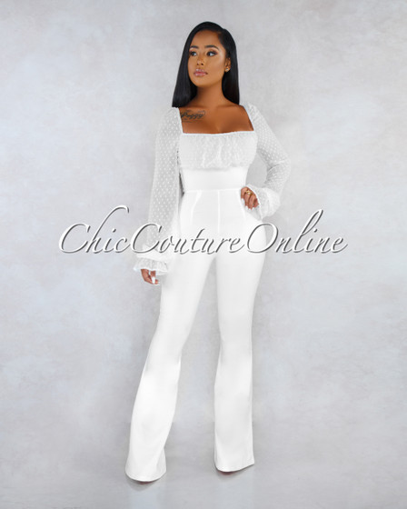 Pandora Off-White Lace-Up Ruched Two Way Jumpsuit