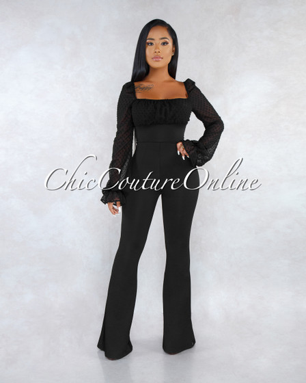 Pandora Black Lace-Up Ruched Two Way Jumpsuit