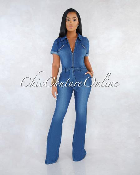 Phortia Blue Denim Front Zipper Belt Jumpsuit