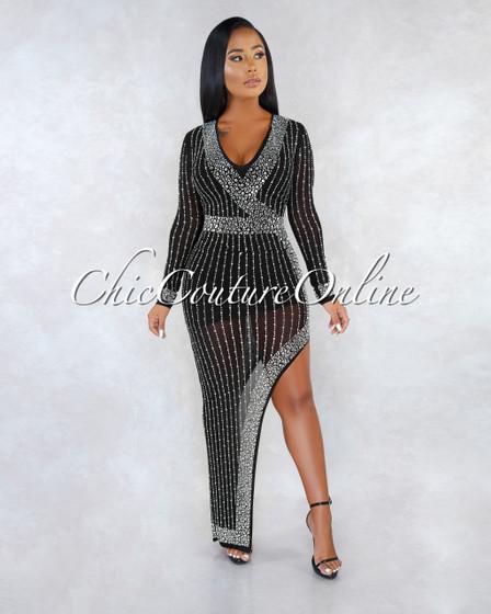 Sakina Black Silver Rhinestones Asymmetrical Slit Dress