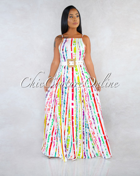 Rahim Off-White Multi-Color Print White Belt Maxi Dress