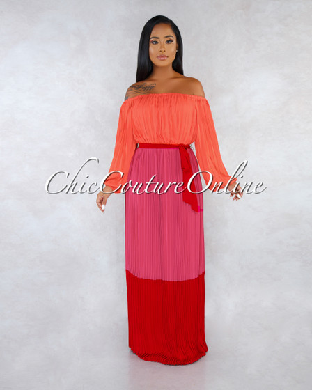Samara Orange Fuchsia Red Color Block Pleated Maxi Dress