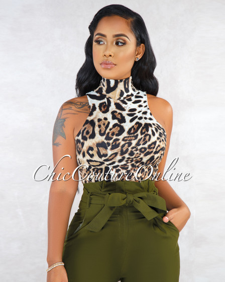 Sarasota Leopard Print Mock Neckline Crop Top