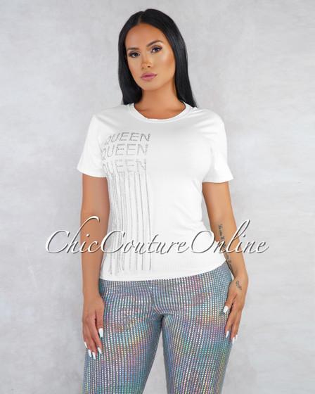 Queen White Rhinestones Fringe T-Shirt