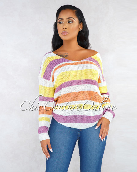 Matisse Ivory Multi-Color Stripes Knot Detail Sweater