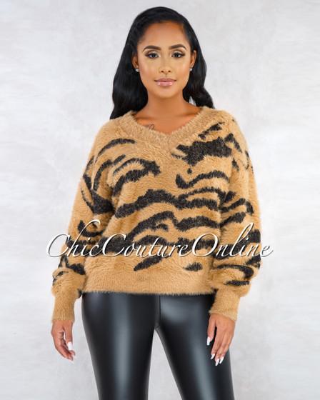 Patty Brown Black Tiger Print Faux Fur Sweater