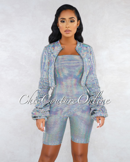 Perugia Silver Iridescent Sequins Jacket Romper Set