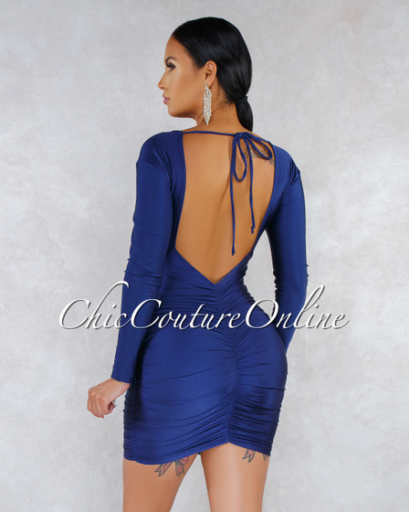 Pretty Navy Blue Ruched Sides Back Key-Hole Satin Dress