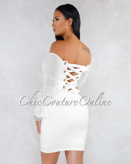 Sabra Off-White Lace-Up Back Sheer Sleeves Dress