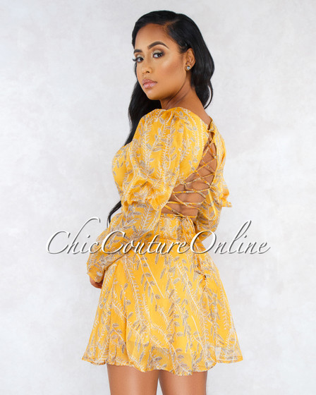 Ravon Mustard Yellow Leaf Print Open Lace-Up Back Dress