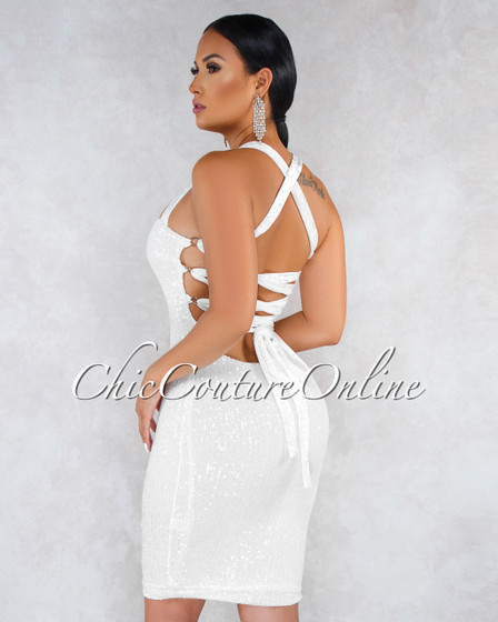 Paradise Off-White Sequins Velvet Lace-Up Back Dress