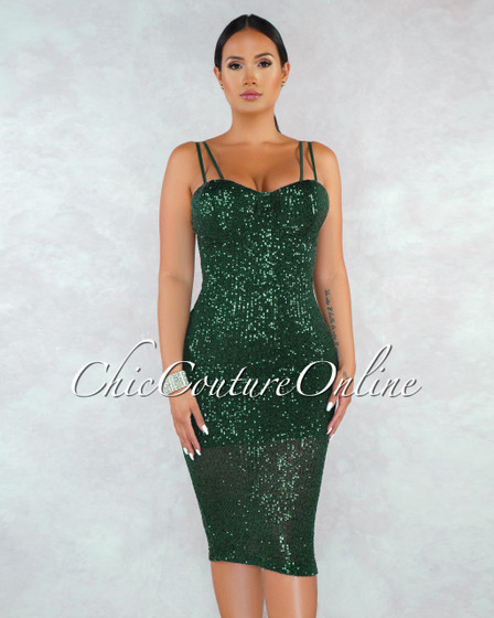 Zumi Hunter Green Sequins Padded Cups Midi Dress