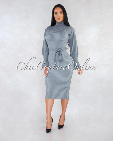Zoyla Gray Ribbed Turtle Neck Midi Dress