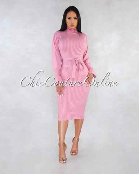 Zoyla Pink Ribbed Turtle Neck Midi Dress