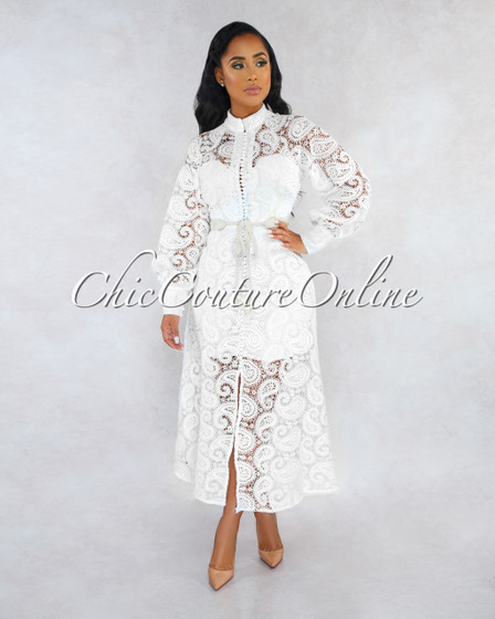 Ziva Off-White Crochet Nude Illusion Midi Dress