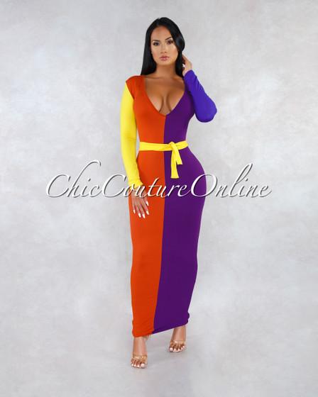 Ivanka Multi-Color Block Belted Maxi Dress