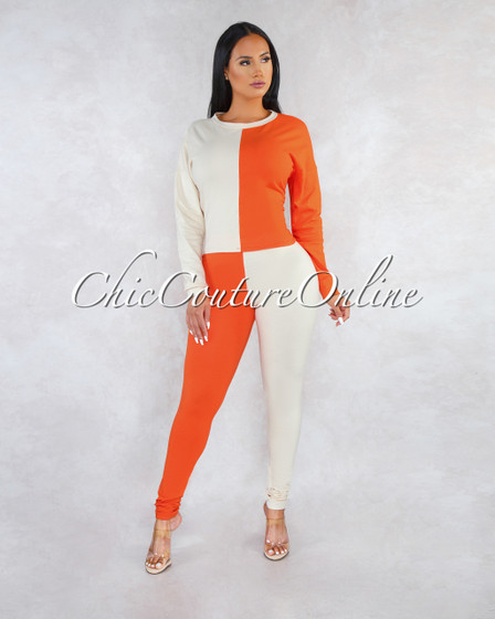 Roberta Nude Orange Block Color Two Piece Set